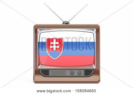 old tv with flag of Slovakia. Slovak Television concept 3D rendering