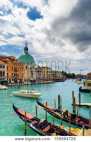 View Of The Grand Canal With Gondolas In Venice, Italy