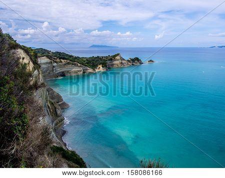 Drastis rock coastline on Corfu Greek island