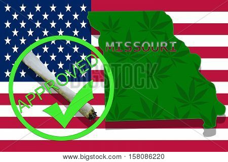 Missouri  On Cannabis Background. Drug Policy. Legalization Of Marijuana On Usa Flag,