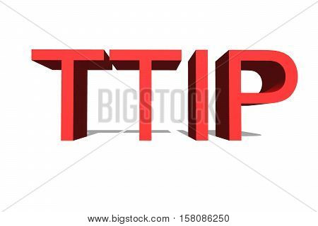 Ttip - Transatlantic Trade And Investment Partnership On White Background