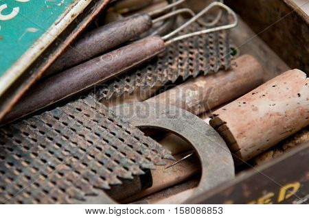 Vintage tools in an antique tool box
