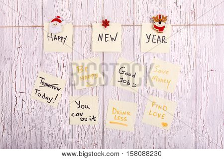 Cards With Words 'happy New Year', ' Today', 'be Happy', 'good Job', Save Money', 'drink Less', 'you