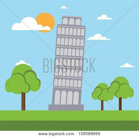 leaning tower of pisa flat style design vector illustration stock