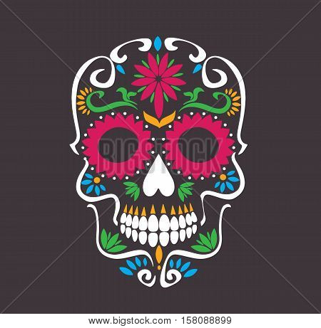 skull lotus flowers - macabre skull sugar tattoo style vector illustration stock