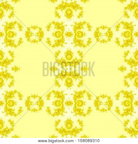 Kaleidoscopic yellow seamless generated texture background tile
