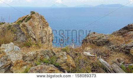 Islands of Lipari at Sicily at Italy