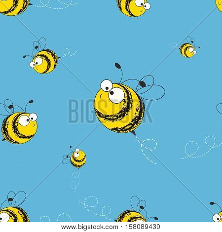 Bees seamless pattern. Vector illustration. Image of flying bees. Funny bees.