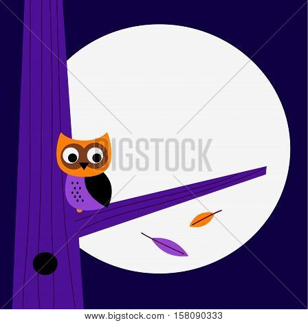 Halloween stylish background with hand-drawn Owl. Perfect stylish art : Kids illustration.