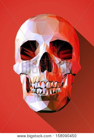 Low poly skull in front view with long shadow on red scary mood