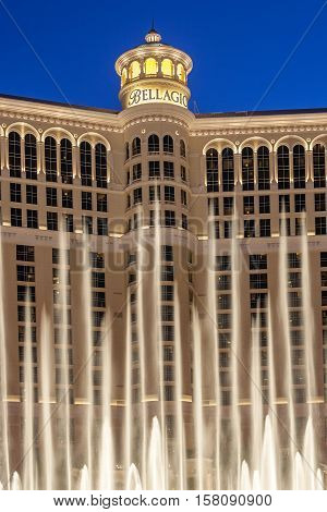 Famous Bellagio Hotel With Water Games In Las Vegas