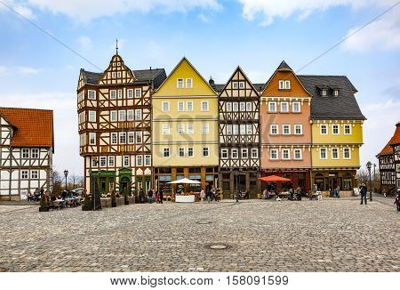 Panorama Marketplace Hessenpark, An Open Air Museum With Old Half Timbered House