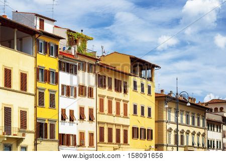Facades Of Medieval Houses On The Piazza Santa Croce, Florence