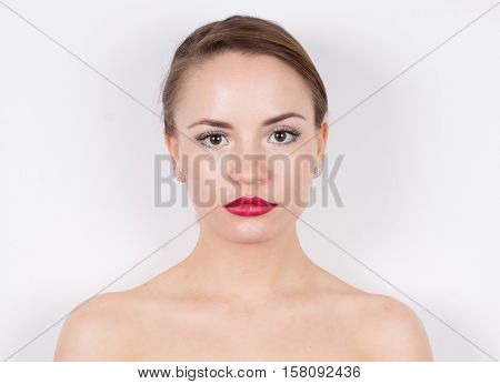 Young woman face and shoulders