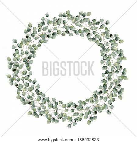 Watercolor floral border with silver dollar eucalyptus leaves. Hand painted floral wreath with branches, round leaves isolated on white background. For design or background.
