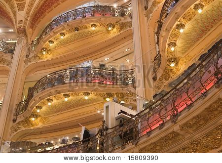 France. Paris. Galeries Lafayette. Balconies
