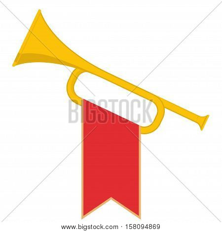 Trumpet with red flag icon. Brass Bugle Cartoon Illustration. Horn Flat design. vector