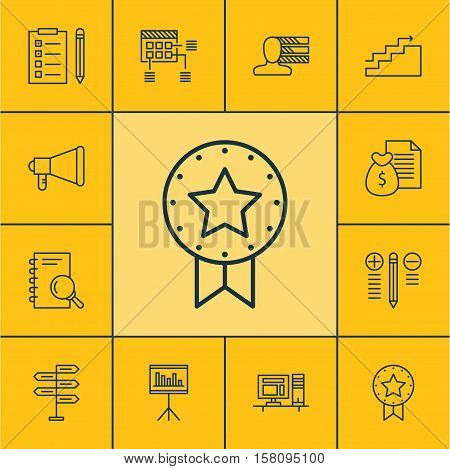 Set Of Project Management Icons On Announcement, Report And Computer Topics. Editable Vector Illustr