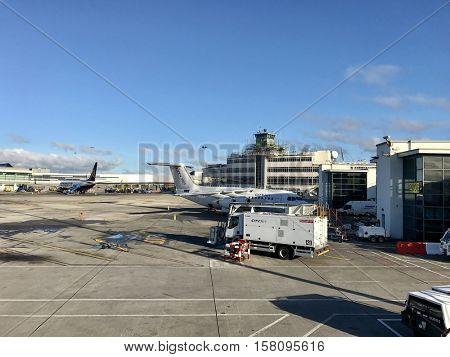 DUBLIN - NOVEMBER 23: Aircraft operations at Dublin International Airport on November 23, 2016 in Dublin, Ireland.
