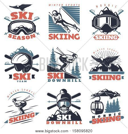 Isolated nordic ski emblems in linear vintage style with skiing gear rope way and skiers symbols vector illustration