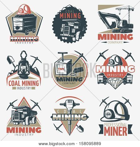 Set of nine isolated vintage mining industry with professional equipment and technics twibill coal pick symbols vector illustration