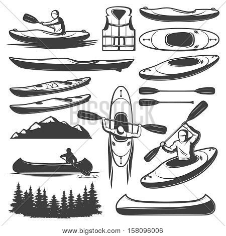 Set of isolated monochrome canoe kayak elements with vintage images of row boats and rowing figures vector illustration