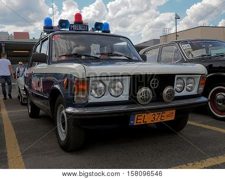 Lodz, Poland - June 19, 2016 Militia patrol car from the period of socialist Polish exhibition of old cars in Lodz.