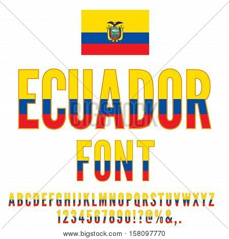 Ecuador National Flag stylized Font. Alphabet, Number and symbols in Vector Set