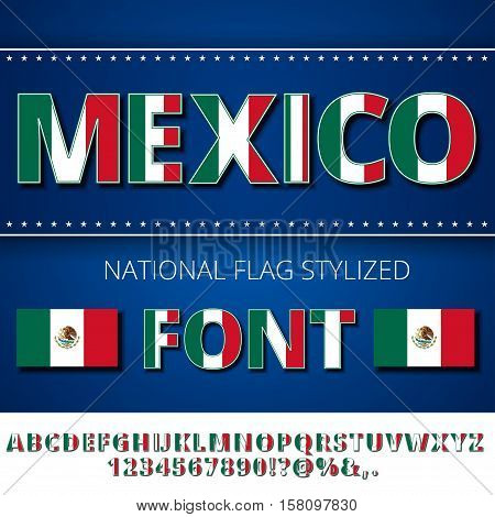 Mexico national flag simple stylized font. Alphabet and Numbers in Vector Set
