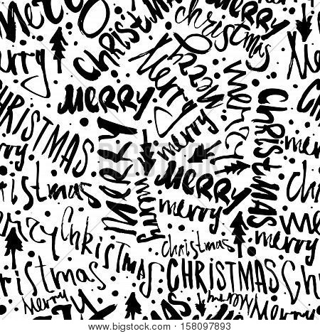 Seamless Merry Christmas pattern. Festive Happy New Year lettering design. Vector youth contemporary illustration