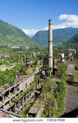 View from the tube of abandoned Tkvarcheli power plant, Abkhazia, Georgia