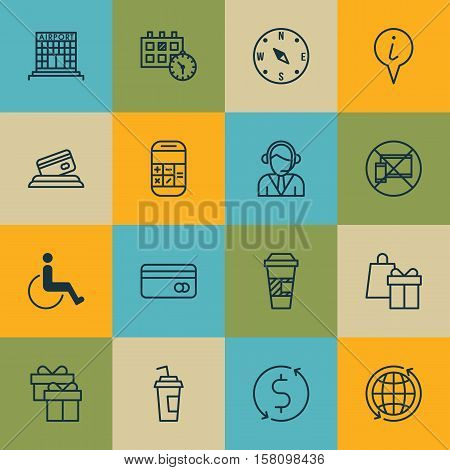 Set Of Airport Icons On Present, Accessibility And Money Trasnfer Topics. Editable Vector Illustrati