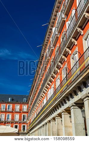 Buildings on the Plaza Mayor of Madrid in Spain