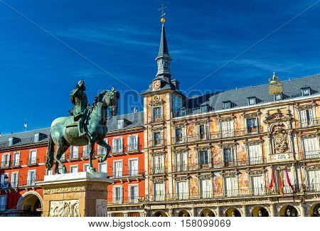 Statue of Philip III on Plaza Mayor in Madrid - Spain
