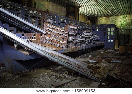 Destroyed control panel of Tkvarcheli power plant, Abkhazia, Georgia