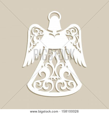 Christmas carved openwork angel. A template for laser cutting. Picture perfect for decorations holiday tree greeting card interior design stencil production for kids and family art creativity