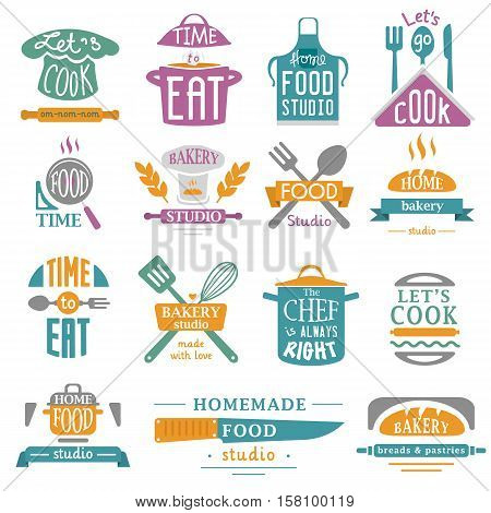 Bakery shop logos, badges and labels design elements set. Bread cake cafe vintage style objects retro vector. Cooking logo badge shop restaurant stamp. Cooking logo badge bakery typography.