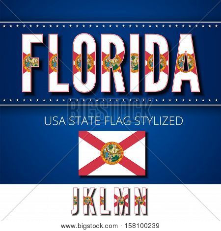 Florida USA state flag font. Alphabet characters stylized by state flag. Vector typeset part 3, letters j-n