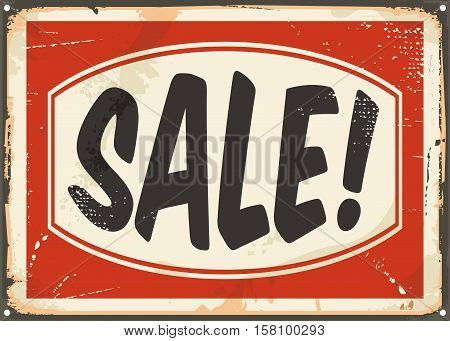 Sale vintage tin sign. Promotional retro ad design.
