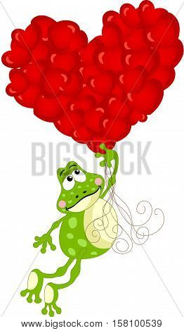 Scalable vectorial image representing a cute frog flying with heart balloons, isolated on white.