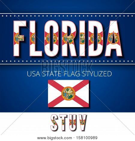 Florida USA state flag font. Alphabet characters stylized by state flag. Vector typeset part 5, letters s-v