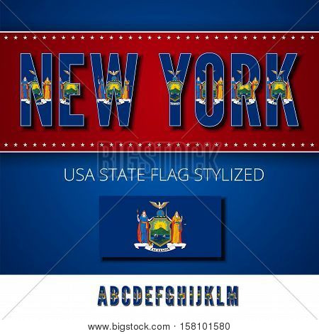 New York USA state flag font. Alphabet characters stylized by state flag. Vector typeset part 1, letters a-m