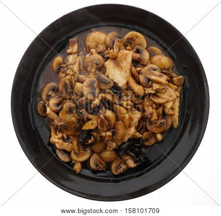 Chicken With Black And White Mushrooms And Bamboo Shoots