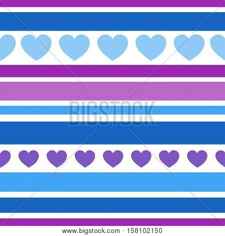 Seamless patterns with hearts, fabric texture, stripes background. Texture for web, print, wallpaper, home decor, textile, website background.