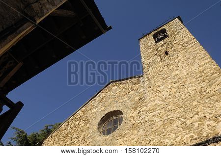 facade of Alas Church Lleida province Catalonia Spain