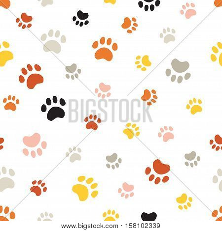 Vector seamless pattern withcat footprints. Seamless pattern can be used for wallpaper, web page background, surface textures.