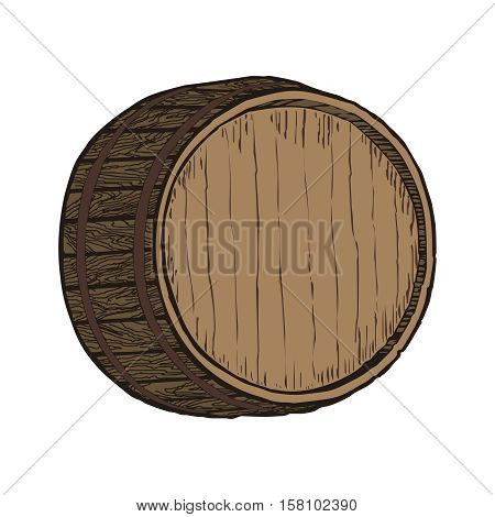 Wooden barrel top object, isolated on white vector illustration