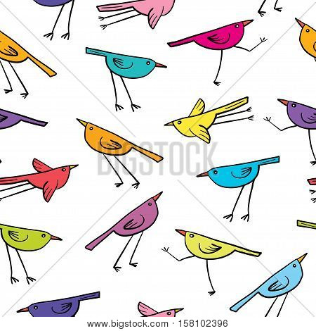 Seamless pattern with cute birds on white background. Cartoon colorful funny little birds.