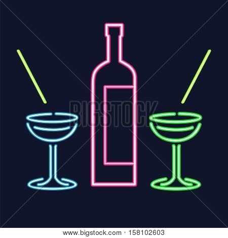 Vector bottle of alcohol and glasses isolated. Neon bright colorful outlines on dark background. Banner, flyer for bar, restaurant, cafe, pub, disco, wine card, menu, map
