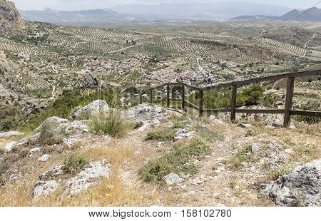 landscape with a view over Olivares town and the mountains, province of Granada, Spain